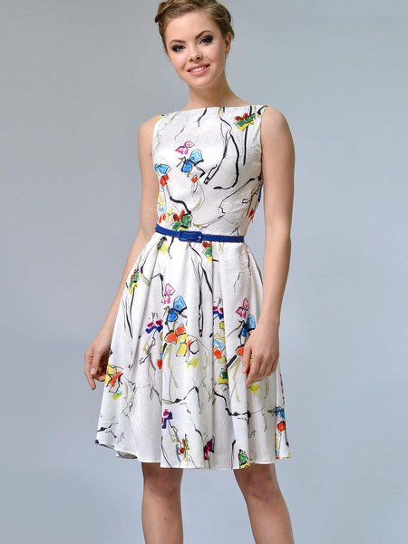 White Sleeveless Pleated Slash Neck Printed A-line Midi Dress with Belt