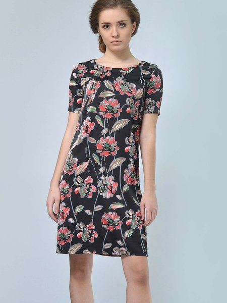 Black-red Silk-blend Short Sleeve Floral Midi Dress
