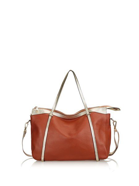 Large Solid Zipper Casual Full-grain Leather Tote with Gold-tone Hardware