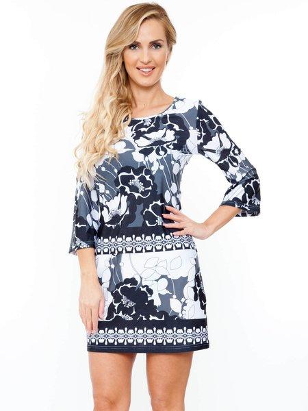 Black-white 3/4 Bell Sleeve Printed Mini Dress