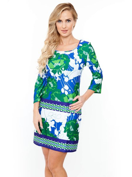 Green-blue 3/4 Bell Sleeve Printed Mini Dress