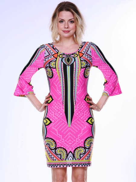 Fuchsia-yellow Printed 3/4 Bell Sleeve Mini Dress