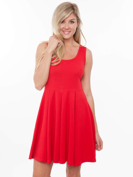 Red Solid Crew Neck Sleeveless Mini Dress