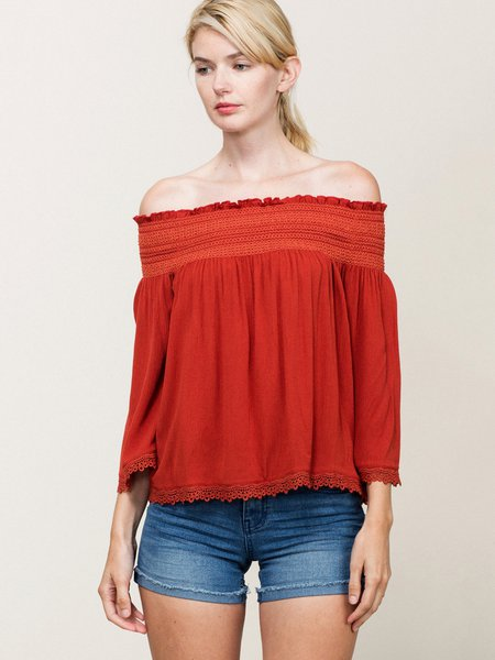 Brick Solid 3/4 Sleeve Blouse