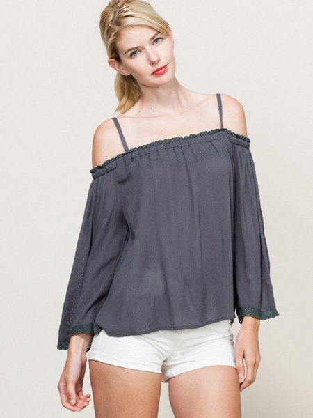 Charcoal Gray Casual Solid Spaghetti Blouse