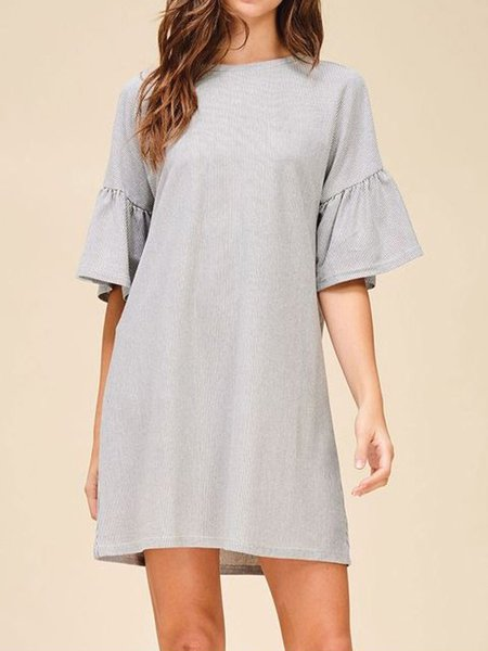 Light Gray Mini Stripes Half Sleeve Tunic Mini Dress