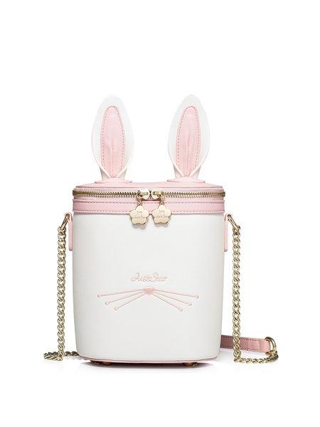 Pearl White Sweet Bunny Ears Zipper Crossbody Bag