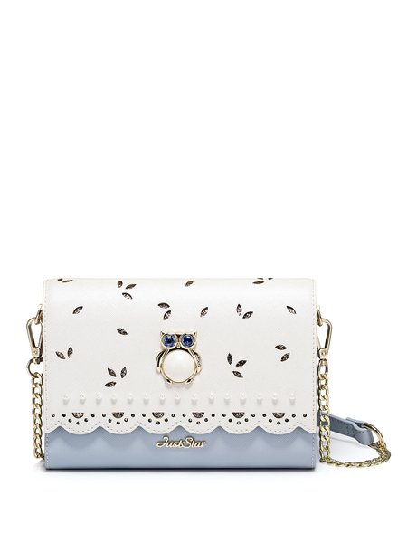 Sweet Pierced Zipper Crossbody Bag with Gold-color Owl Hardware