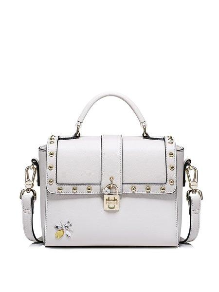White Sweet Rivet Twist Lock Crossbody Bag with Rhinestone