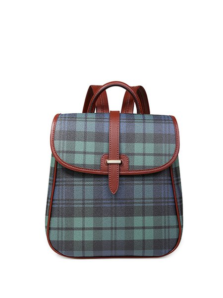 Green Plaid Fold-over Flat Top Backpack