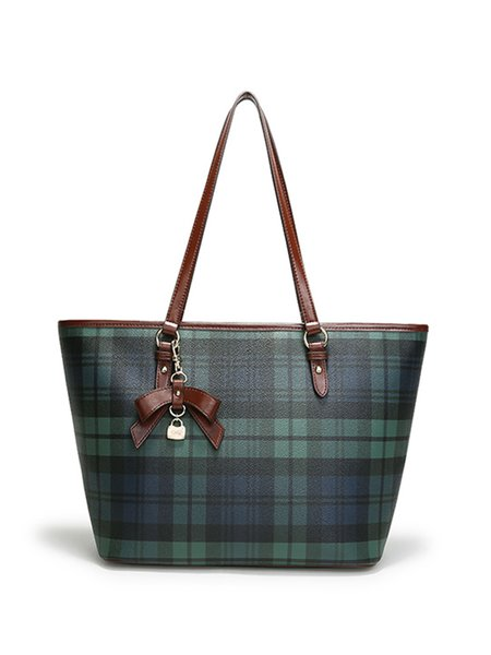 Large Green Casual Plaid PVC Zipper Tote