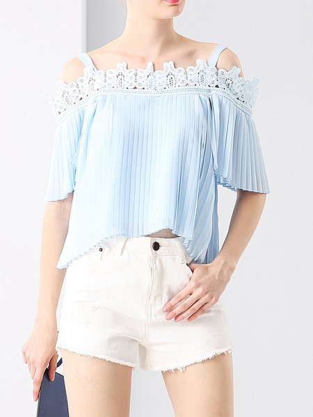 Light Blue Lace Cold Shoulder Pleated Half Sleeve Tops