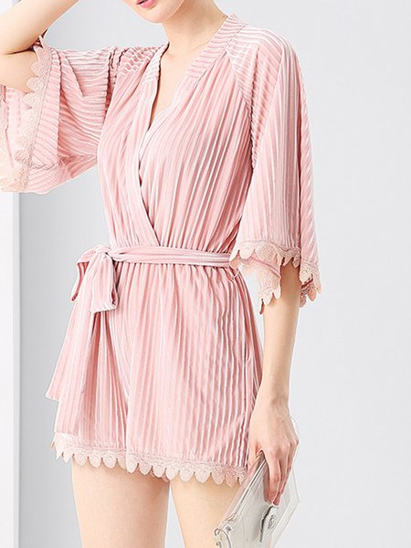 Pink Solid Half Bell Sleeve Ribbed Resort Romper