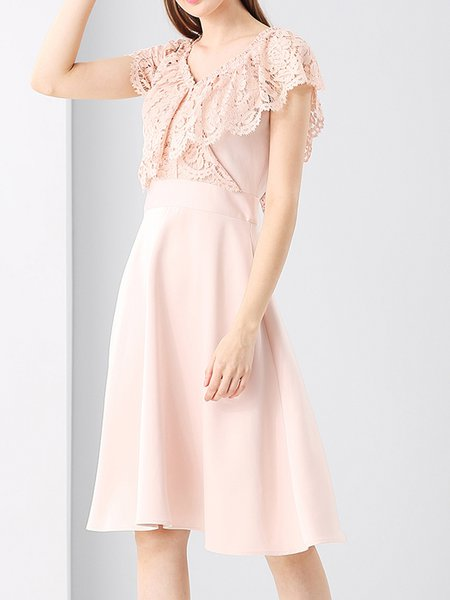 Pink Short Sleeve A-line Girly Lace Solid Midi Dress