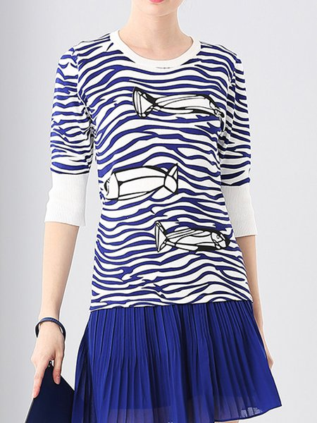 Blue Abstract Printed Crew Neck Short Sleeve T-Shirt