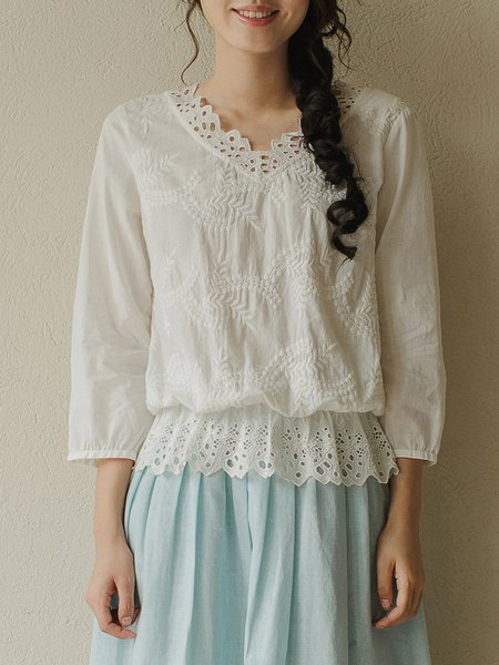 White Girly 3/4 Sleeve Embroidered Solid Tops