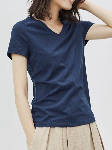 Solid V Neck Cotton-blend Shorts Sleeve T-Shirt
