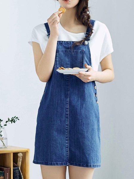 Blue Spaghetti H-line Solid Denim Overall Midi Dress