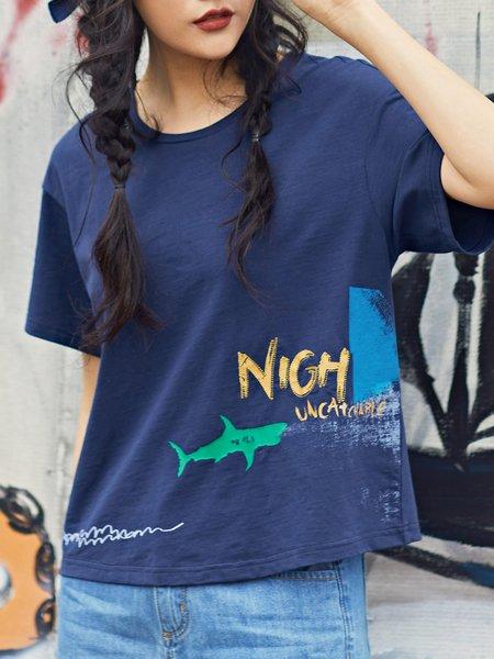 Dark Blue Crew Neck Shorts Sleeve Printed T-Shirt