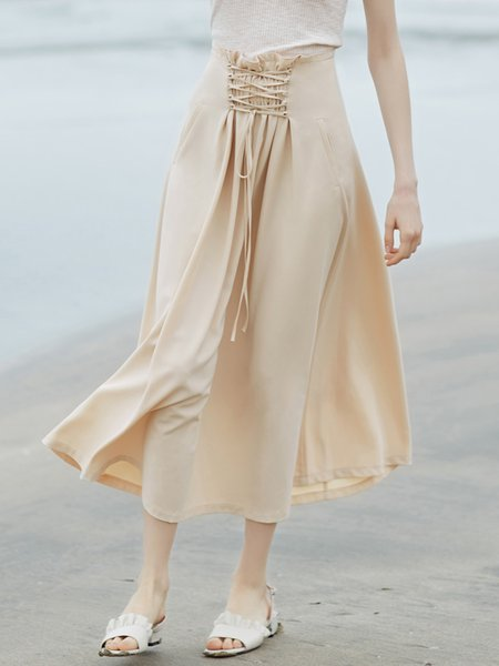 Solid Resort A-line Lace Up Midi Skirt with Belt