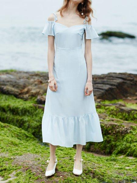 Solid Elegant Solid Frill Sleeve Ruffled Mermaid Midi Dress