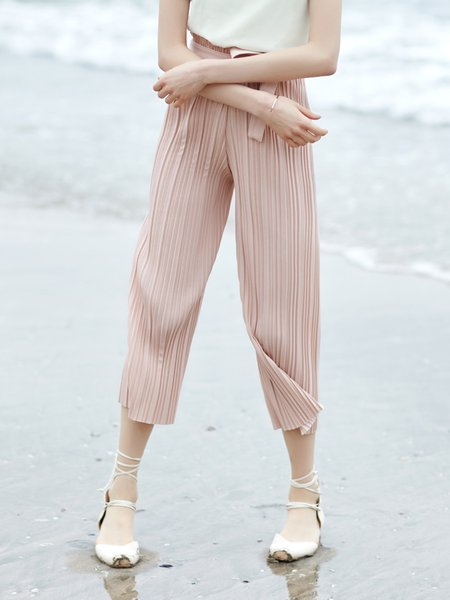Solid Casual Ribbed Solid Wide Leg Pants with Belt