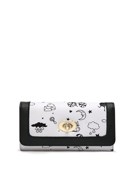 Solid Sweet Printed Zipper Wallet with Gold-tone Hardware