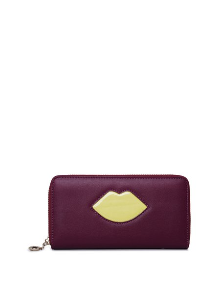 Sweet Color-block Zipper Wallet