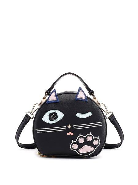 Black Cat Appliqued Funny Zipper Top Handle
