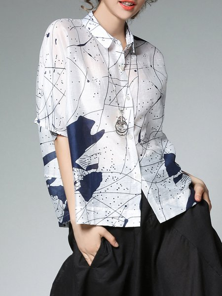 White-blue Half Sleeve Abstract Shirt Collar Casual Blouse