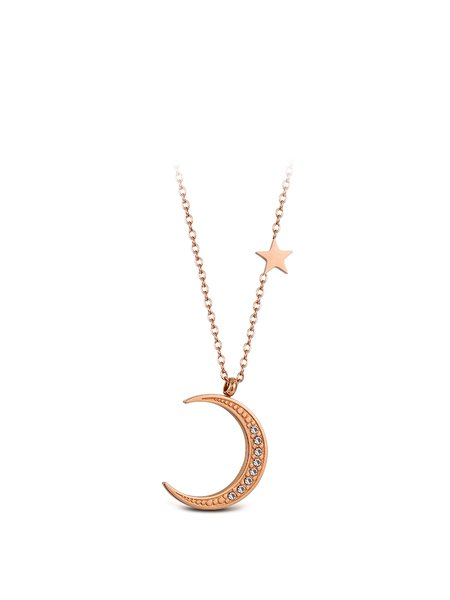 Rose Gold Alloy Crescent Imitated Crystal Necklace