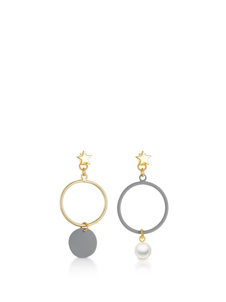 Gray Alloy Imitation Pearl Round Earrings