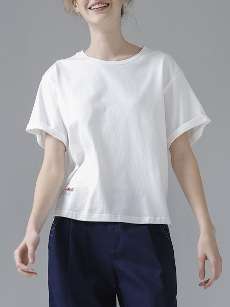 Solid Embroidery Crew Neck Short Sleeve T-Shirt