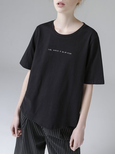 Solid Short Sleeve Letter T-Shirt