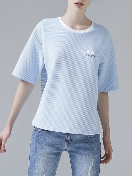 Simple Short Sleeve Embroidered Solid T-Shirt