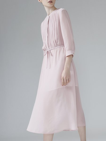 Pink Stand Collar Casual Chiffon Slit Midi Dress