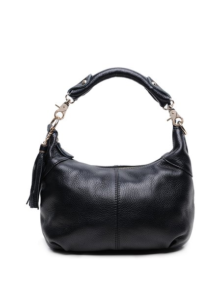 Casual Cowhide Leather Zipper Shoulder Bag with Tassel