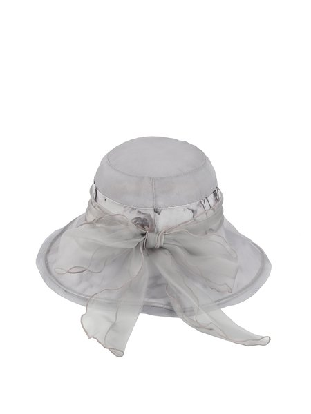 Light Gray Silk Printed Resort Hat with Bowknot
