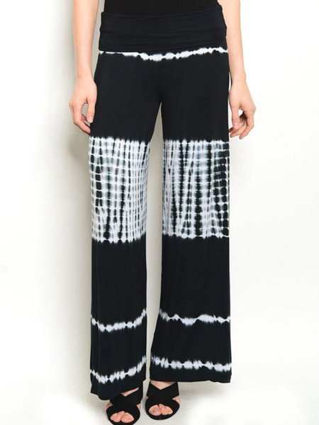 Black Ombre/Tie-Dye Shift Casual Wide Leg Pants