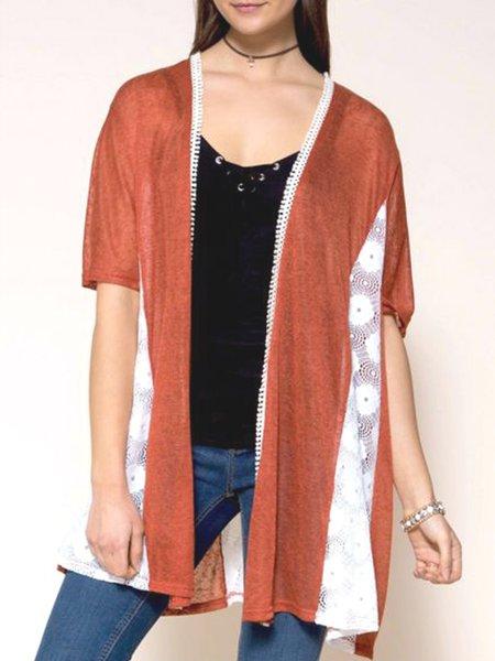 Rust Casual Half Sleeve Crocheted Insert Swing Cardigan