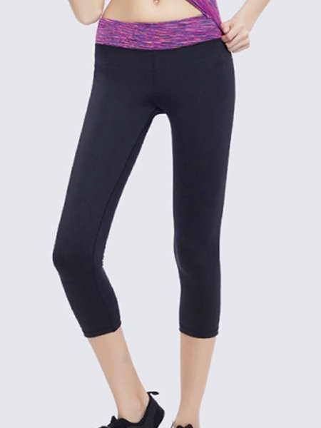 Purple-black Polyester Breathable Sports Legging