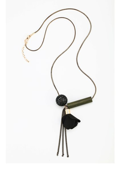 Dark Green Fabric Flower Alloy Necklace