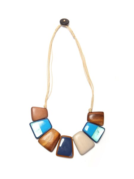 Multicolor Square Resin Wood Necklace