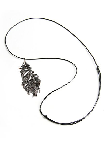 Silver-Color Alloy Feather Necklace