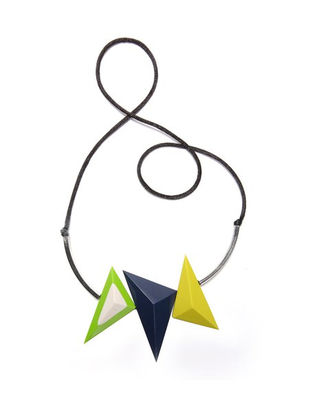 Multicolor Triangle Alloy Resin Necklace