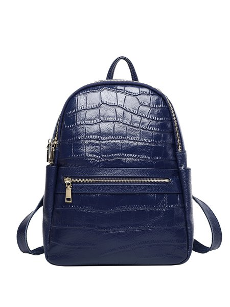 Solid Zipper Casual Cowhide Leather Embossed Backpack