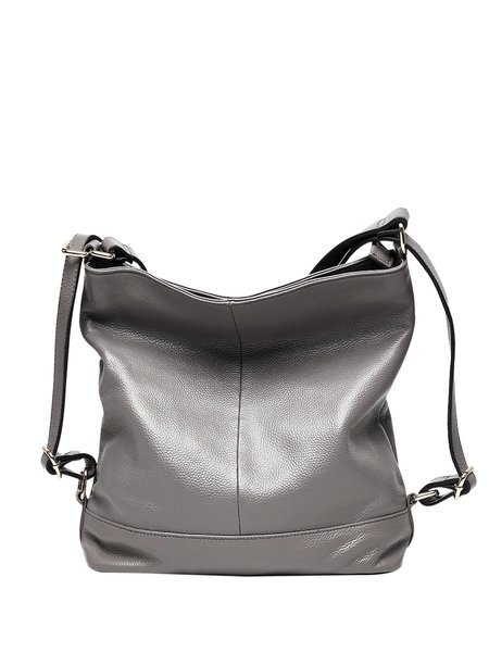 Solid Casual Cowhide Leather Zipper Top Handle
