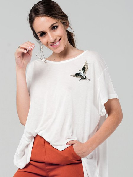 White Animal Crew Neck Shorts Sleeved Top