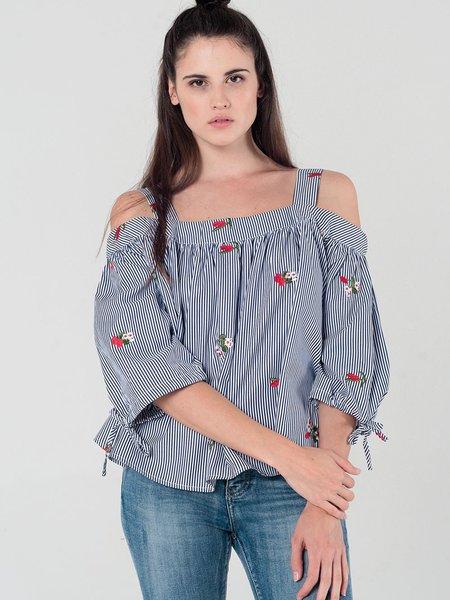 Cold Shoulder Stripes Embroidered Half Sleeved Top