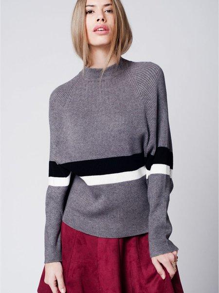 Gray Stripes Casual Slash Neck Long Sleeve Sweater